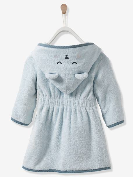 Bear Bathrobe for Babies BLUE LIGHT SOLID WITH DESIGN
