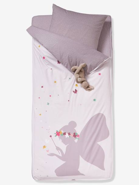 Ready-for-Bed Set with Duvet, Fairy Theme PINK LIGHT SOLID WITH DESIGN