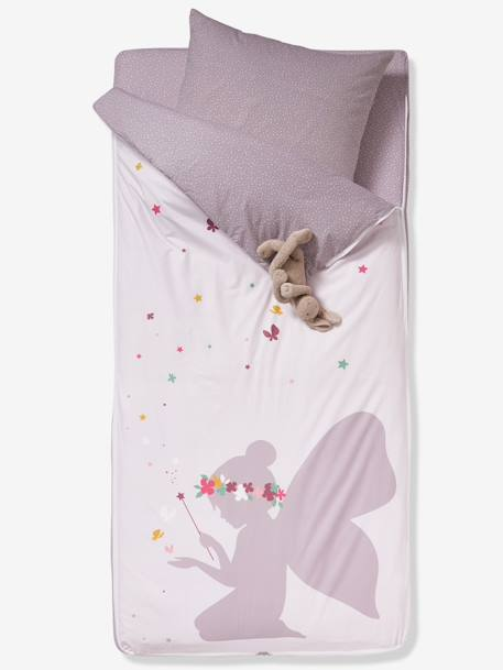 Ready-for-Bed Set without Duvet, Fairy Theme PINK LIGHT SOLID WITH DESIGN