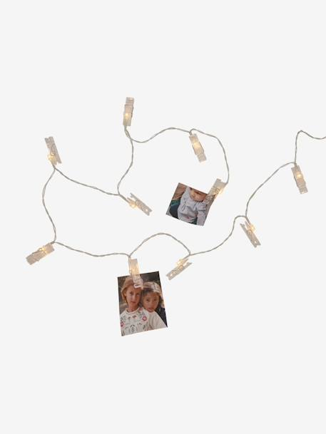 Light-Up Garland with Pegs for Photos WHITE LIGHT SOLID