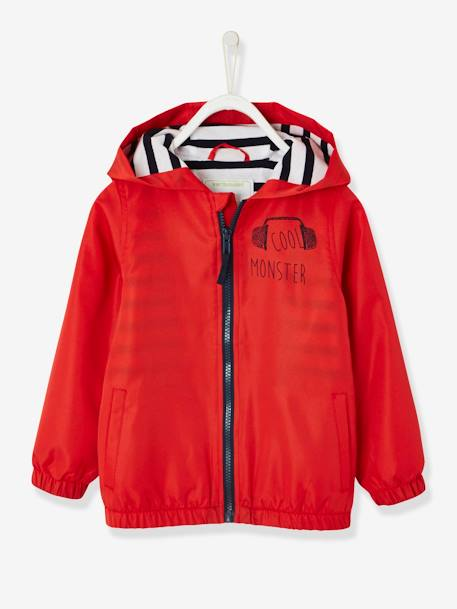 Hooded Windcheater with Striped Lining for Boys BLUE DARK SOLID WITH DESIGN+RED MEDIUM SOLID WITH DESIG