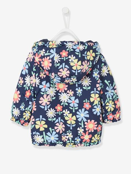 Light Reversible Jacket with Motifs for Baby Girls BLUE DARK SOLID+PINK LIGHT SOLID