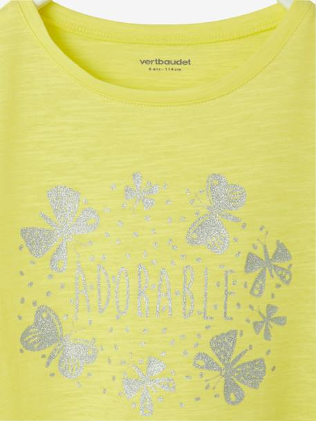 Girls' Short-Sleeved Dress BLUE DARK ALL OVER PRINTED+PINK LIGHT 2 COLOR/MULTICOL R+WHITE MEDIUM STRIPED+YELLOW MEDIUM SOLID WTH DESIGN