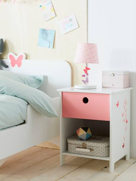 Bedside Table, Flight Theme White