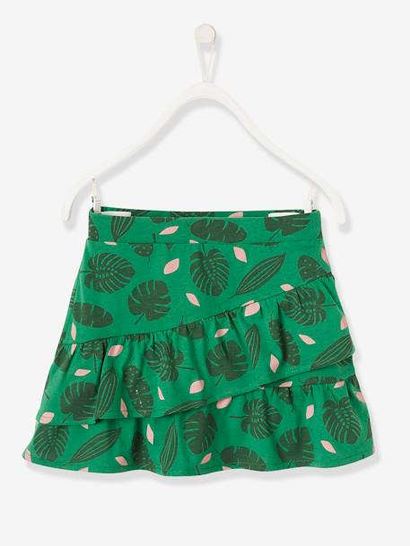 Skirt with Frills for Girls GREEN MEDIUM ALL OVER PRINTED+GREY LIGHT MIXED COLOR
