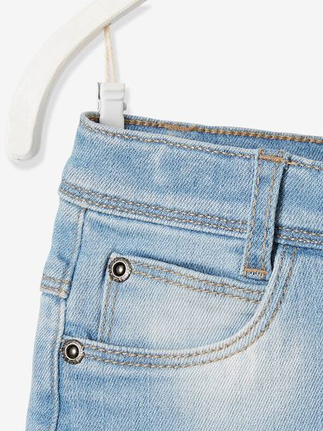 Girls' Denim Skirt BLUE DARK SOLID+BLUE DARK WASCHED
