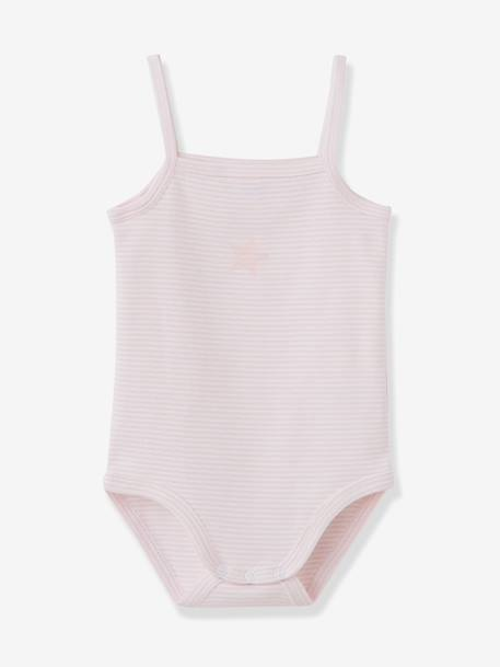 Baby Pack of 3 Coloured Pure Cotton Babysuits with Thin Straps Pale pink