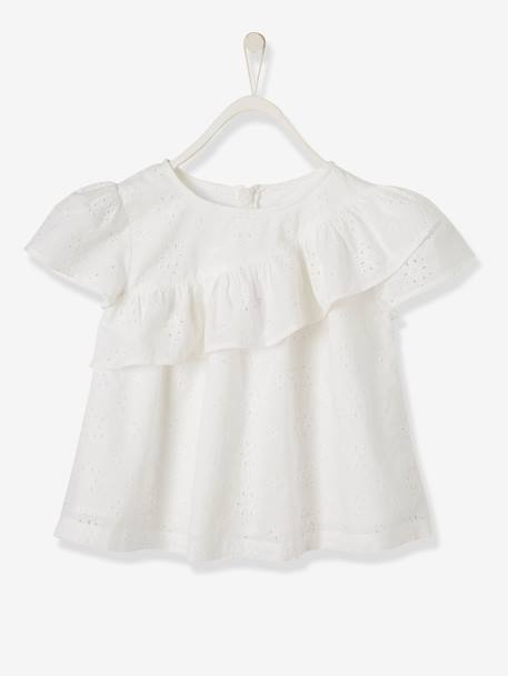 Blouse with Ruffle in Broderie Anglaise for Girls WHITE LIGHT SOLID+YELLOW DARK SOLID