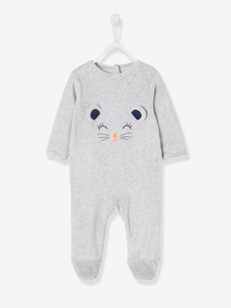 Babies' Velour Pyjamas, Press-studs on the Back GREY MEDIUM MIXED COLOR