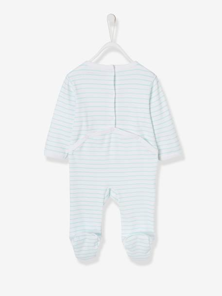 Cotton Sleepsuit for Babies, Press-Stud Fastening on the Back WHITE LIGHT STRIPED