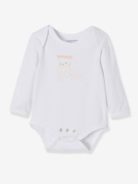Pack of 3 Progressive Bodysuits in Stretch Cotton, Long Sleeves BLUE LIGHT TWO COLOR/MULTICOL+PINK LIGHT 2 COLOR/MULTICOL R
