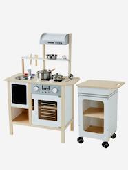 Toys-Kitchen Toys-Large Wooden Kitchen + Kitchen Trolley
