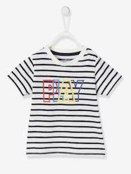 Baby-T-shirts & Roll Neck T-Shirts-Short-Sleeved T-Shirt with Message for Baby Boys