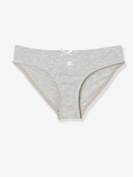 Pack of 7 Briefs for Girls GREY LIGHT TWO COLOR/MULTICOL