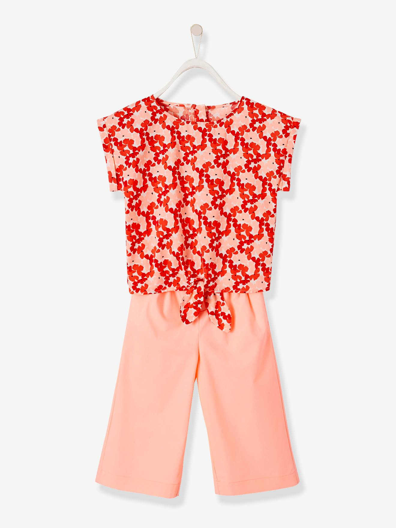 e760d9b5a7 Printed Top + Cropped Trousers Ensemble for Girls - pink bright solid with  desig, Girls   Vertbaudet