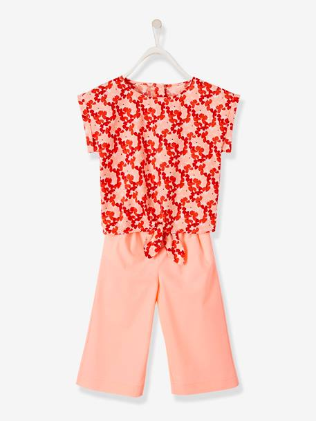 Printed Top + Cropped Trousers Ensemble for Girls PINK BRIGHT SOLID WITH DESIG