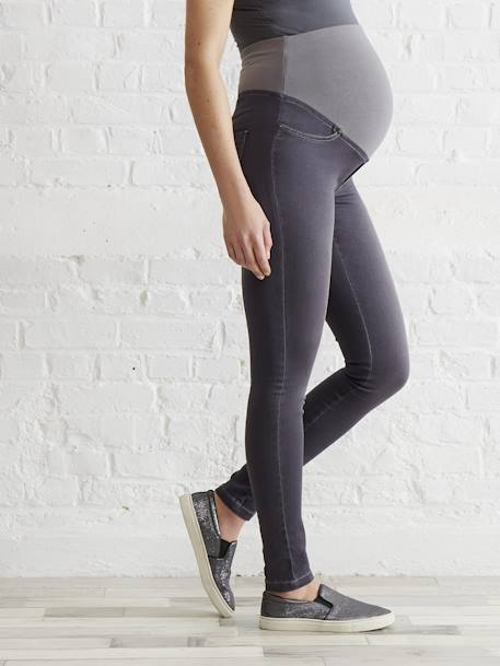Maternity Stretch Fabric Treggings - Inside Leg 32' Black+BLUE MEDIUM SOLID+Grey