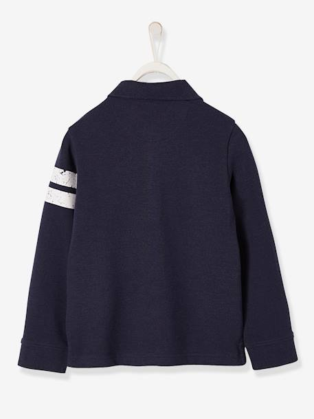 Striped Polo Shirt in Piqué Knit, for Boys BLUE DARK SOLID WITH DESIGN+GREEN DARK SOLID WITH DESIGN