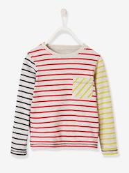 Boys-Tops-Reversible T-Shirt for Boys, Striped/Print