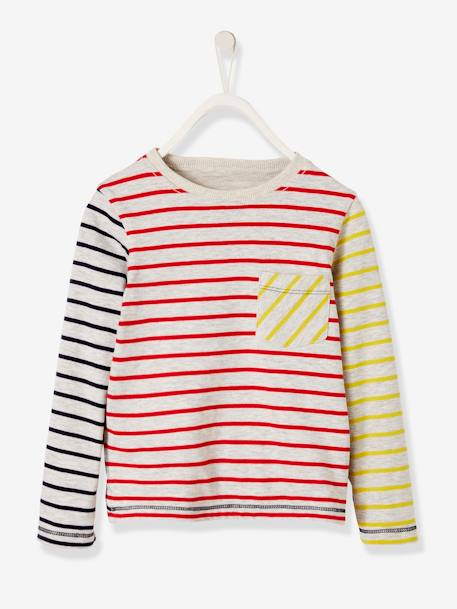 Reversible T-Shirt for Boys, Striped/Print GREY LIGHT MIXED COLOR+RED MEDIUM STRIPED