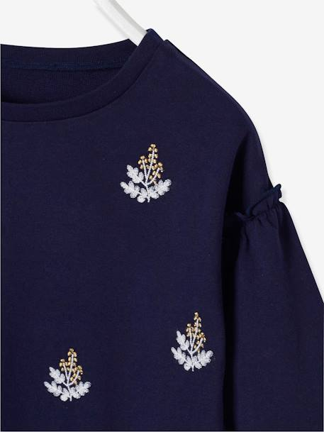 Sweatshirt Embroidered with Iridescent Flowers for Girls BLUE DARK SOLID WITH DESIGN