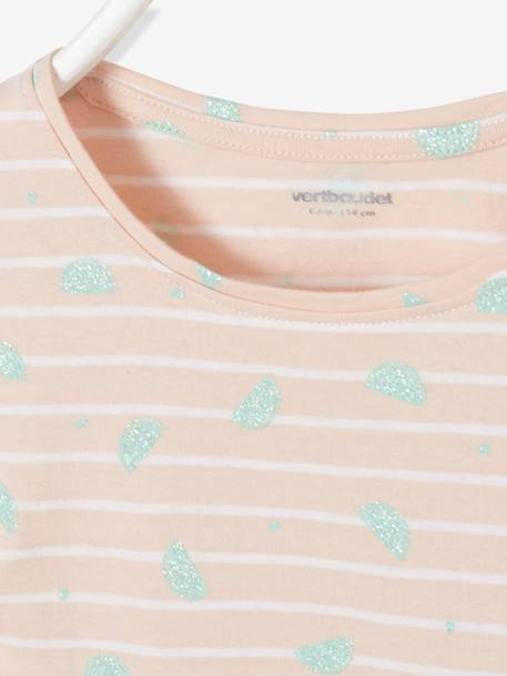 Striped T-Shirt for Girls, Glittery Fruit Motifs PINK LIGHT SOLID WITH DESIGN+YELLOW LIGHT SOLID WITH DESIGN