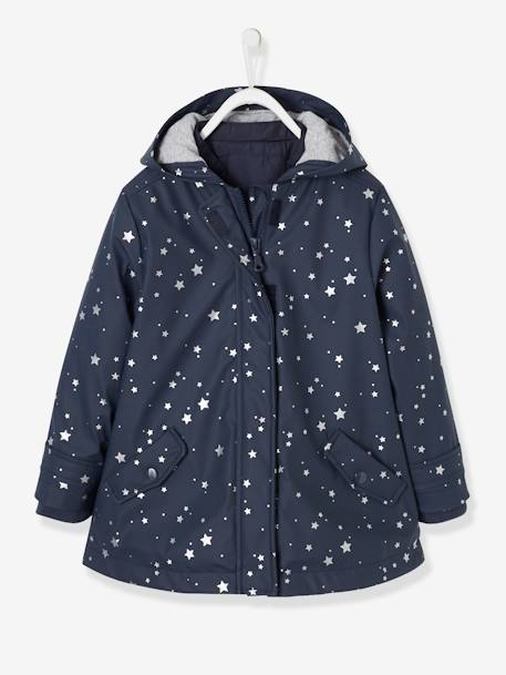 3-in-1 Raincoat for Girls BLUE DARK SOLID+GREEN LIGHT ALL OVER PRINTED+PINK LIGHT ALL OVER PRINTED