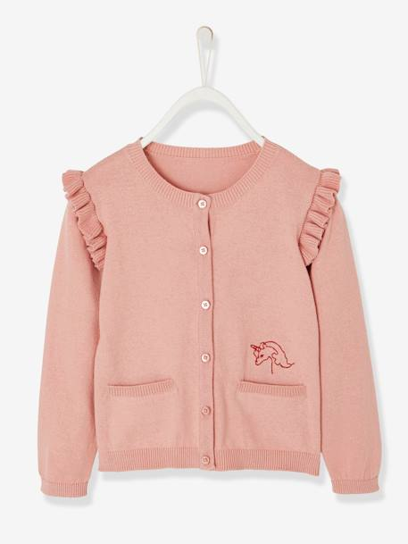Cardigan with Ruffles and Embroidery, for Girls PINK LIGHT SOLID WITH DESIGN