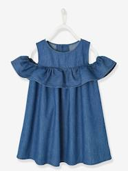 Girls-Dresses-Off-the-Shoulder Dress in Light Denim, for Girls