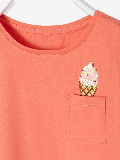 T-Shirt For Girls, With Sequinned Ice Cream Motif PINK MEDIUM SOLID WITH DESIG