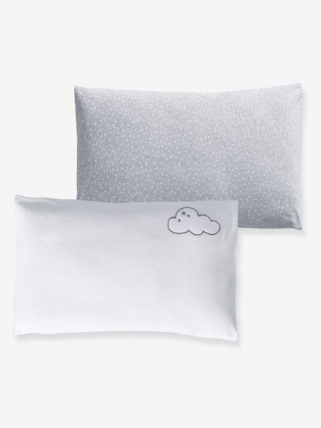Set of 2 Pillowcases, Stars & Clouds Theme WHITE LIGHT SOLID WITH DESIGN