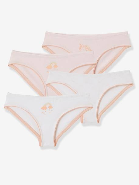 Pack of 4 Briefs for Girls PURPLE LIGHT 2 COLOR/MULTICOLO+RED LIGHT 2 COLOR/MULTICOL R