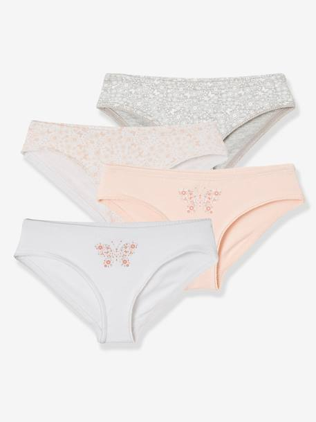Pack of 4 Briefs for Girls PINK LIGHT SOLID WITH DESIGN