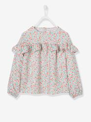 Girls-Blouses, Shirts & Tunics-Ruffled Blouse with Floral Print for Girls