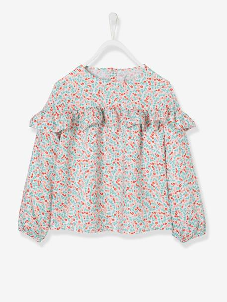 Ruffled Blouse with Floral Print for Girls WHITE LIGHT ALL OVER PRINTED