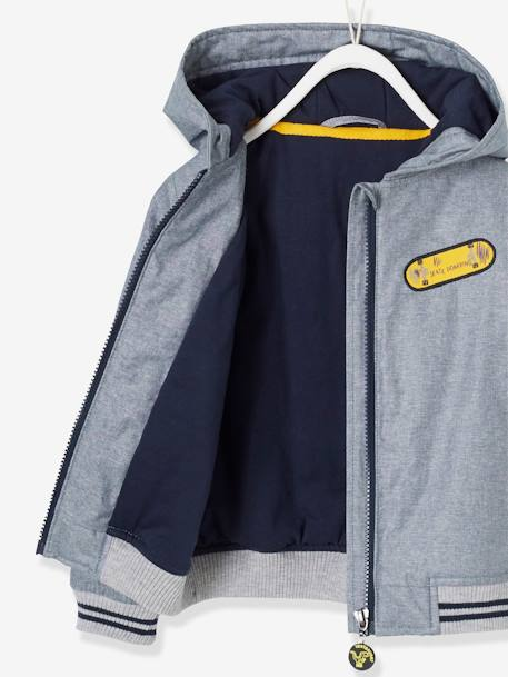 Hooded Jacket for Boys BLUE DARK SOLID WITH DESIGN+BLUE MEDIUM MIXED COLOR
