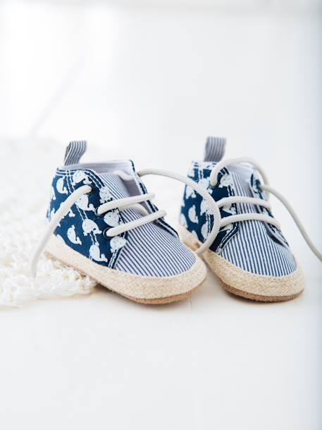 Lace-Up Pram Shoes for Baby Boys BLUE DARK ALL OVER PRINTED