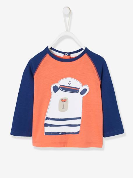 Top with Sailor Bear Motif for Baby Boys ORANGE MEDIUM SOLID WITH DESIG