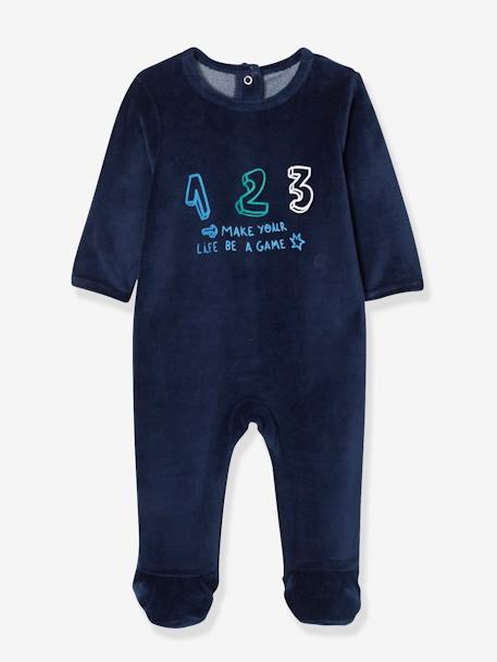 Pack of 2 Velour Sleepsuits for Babies, Press Studs on the Back BLUE DARK TWO COLOR/MULTICOL