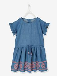 Girls-Dresses-Embroidered Dress, in Chambray, for Girls