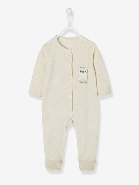 Velour Sleepsuit for Babies, Press Studs on the Front WHITE LIGHT MIXED COLOR