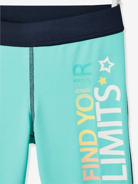 Two-Tone Sports Leggings for Girls, Reflecting Details BLUE LIGHT SOLID WITH DESIGN