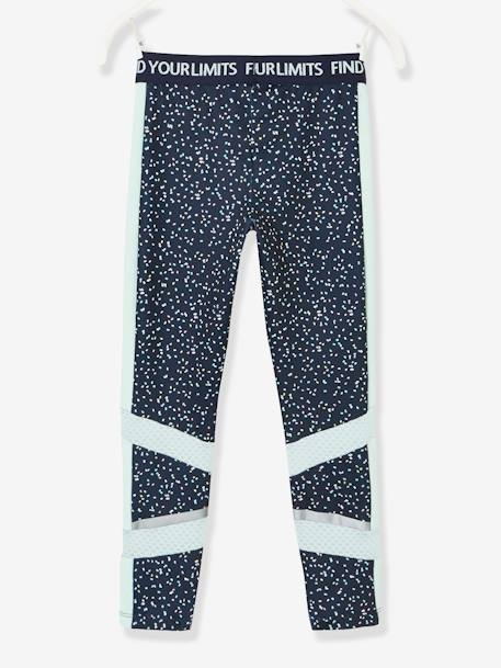 Sports Leggings for Girls, Printed, Techno Details BLUE DARK ALL OVER PRINTED
