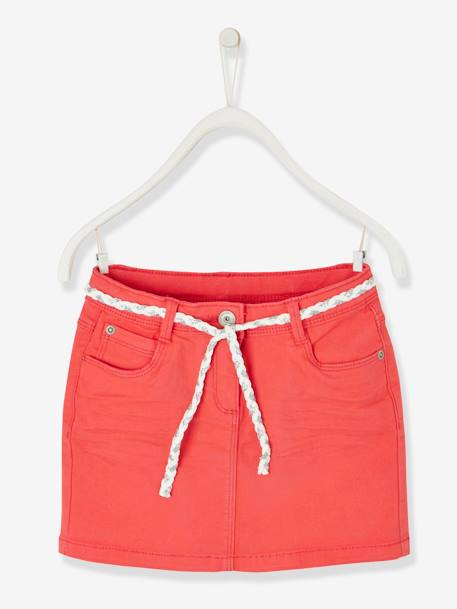 09b8d5f586e644 Skirt in Stretch Twill for Girls GREEN LIGHT SOLID+RED LIGHT SOLID+YELLOW  LIGHT
