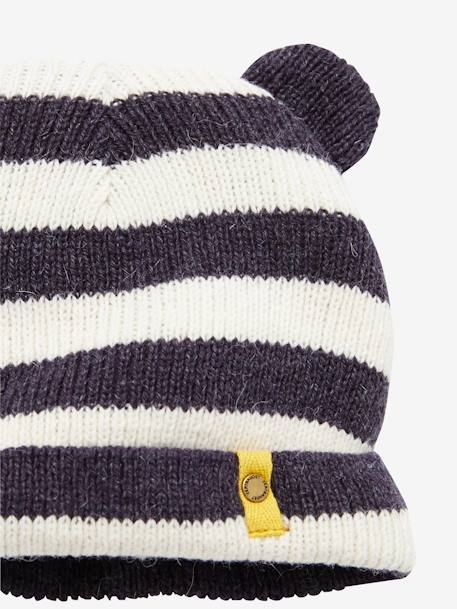 Baby Boy's Hat + Scarf + Mittens set Charcoal stripe