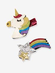 Girls-Accessories-Set of 2 Unicorn & Falling Star-Shaped Hair Clips, with Glitter, for Girls