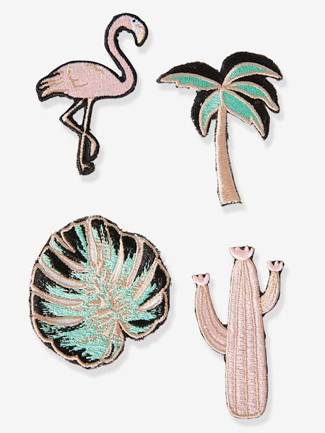 Pack of 4 Exotic Patches for Girls PINK LIGHT SOLID WITH DESIGN