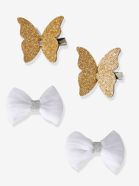 Set of 4 Butterfly & Bow-Shaped Hair Clips for Girls BEIGE MEDIUM SOLID