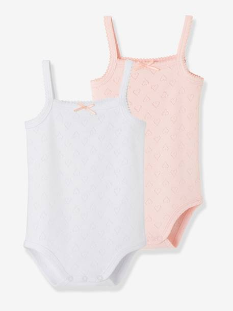 Pack of 2 Bodysuits with Thin Straps for Babies WHITE LIGHT TWO COLOR/MULTICOL