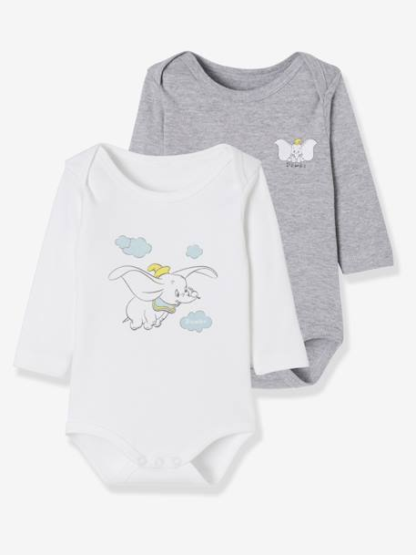 Pack of 2 Disney® Bodysuits, Dumbo Motif GREY LIGHT MIXED COLOR